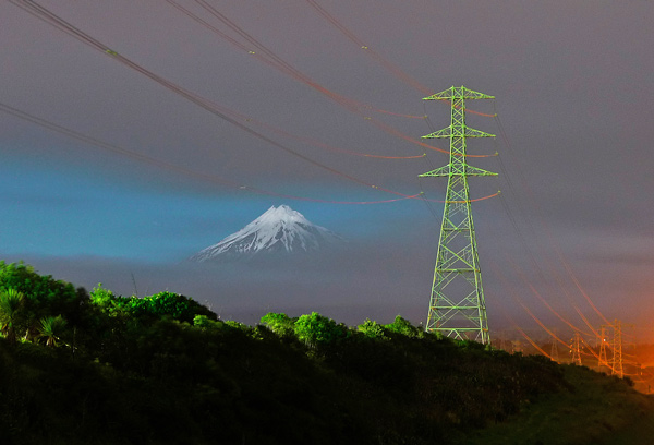 12. Moonlit mountain from Paritutu, New Plymouth