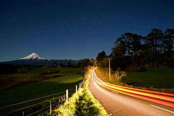 Taranaki moonlight, passing car