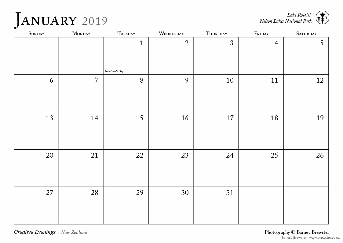 Creative Evenings 2019 Retrospective Calendar by Barney Brewster Free Download
