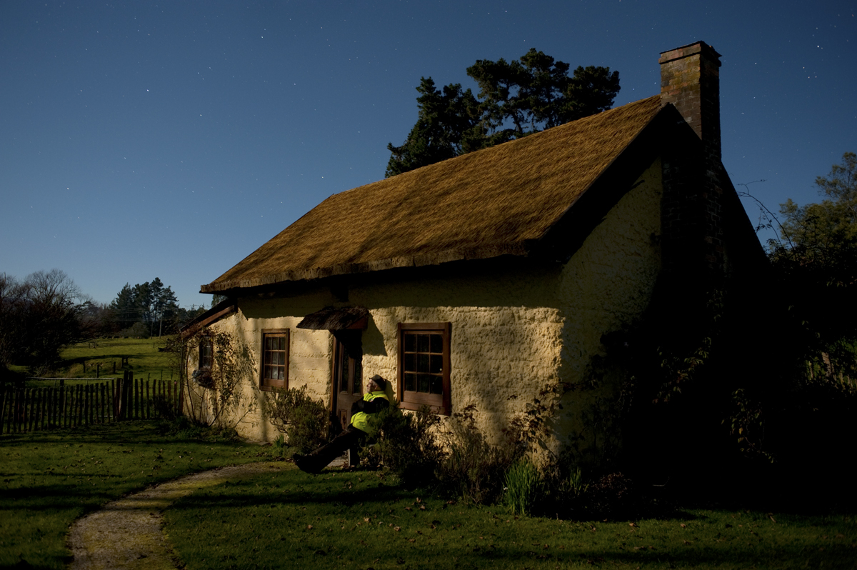 Cob cottage in the Moutere, by moonlight