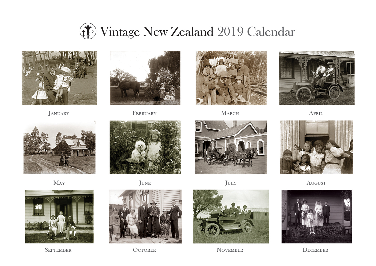 Vintage New Zealand 2019 Calendar Back Cover