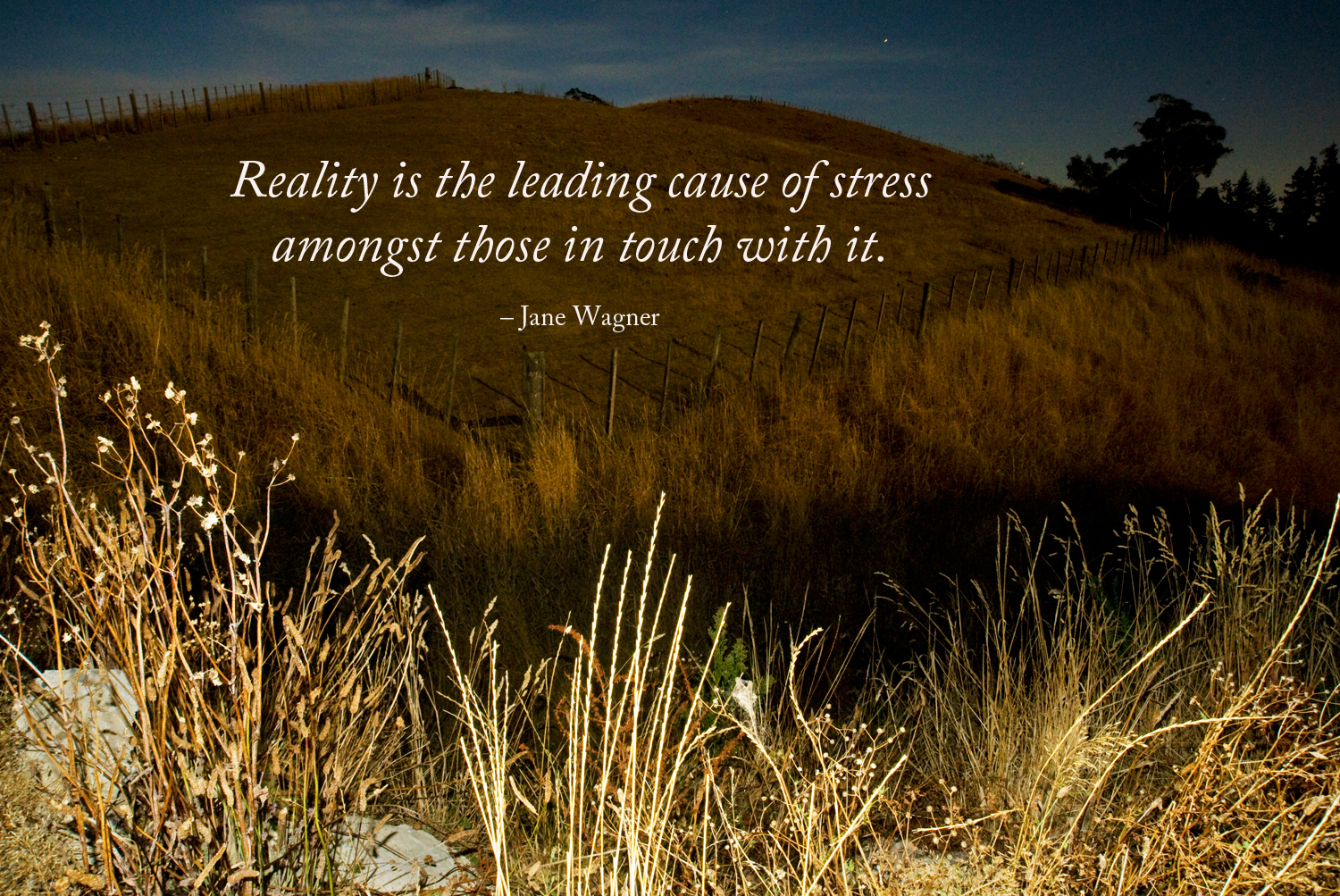 Reality is the leading cause of stress